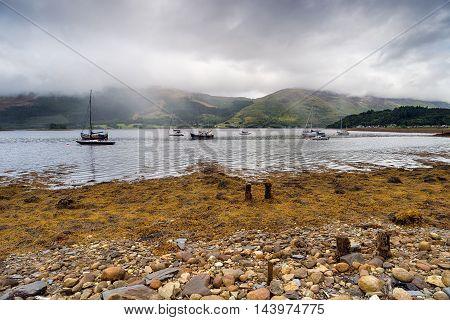 Boats On Loch Leven In Scotland