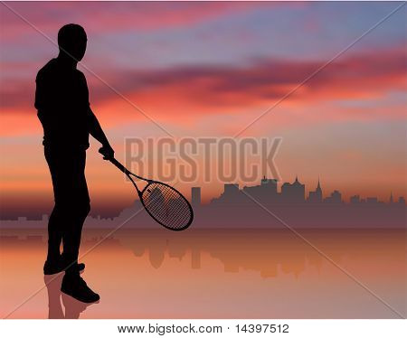 Tennis Player on Sunset Background with Skyline Original Illustration