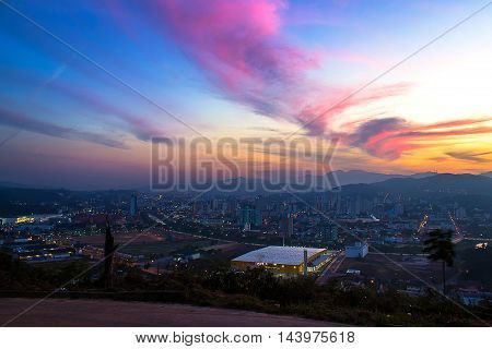 belvedere at a city with a beautiful sky at a sunset