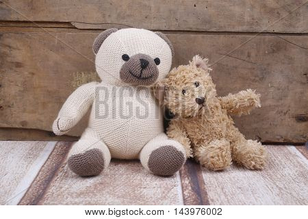 Two teddy bears relax in a playroom