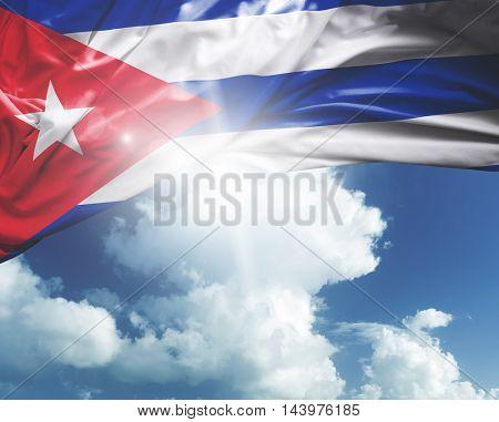 Cuba flag on a beautiful day