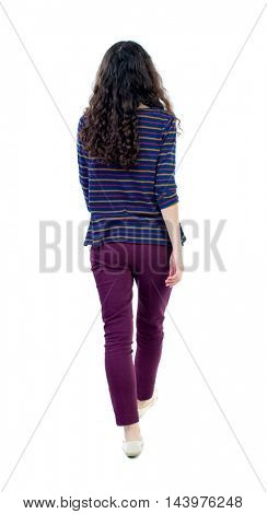 back view of walking  curly woman.  backside view of person.  Rear view people collection. Isolated over white background. Long-haired curly girl goes away.
