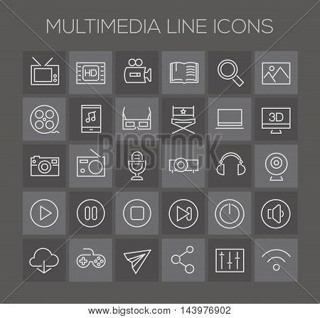 Trendy line icons - Multimedia icons on dark