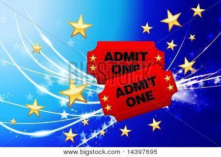 Admission Tickets on Abstract Modern Light Background Original Illustration