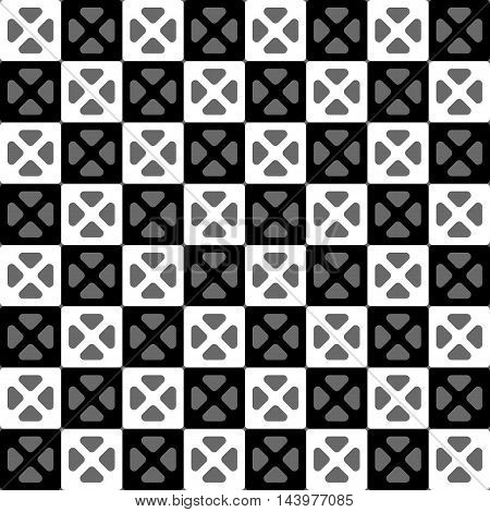 Chess squares seamless pattern. White grey and black colors. Seamless texture vector illustration. Bright illustration background.
