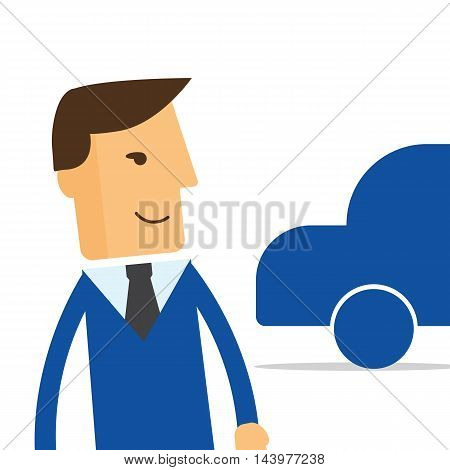 Businessman manager a new car vector eps10
