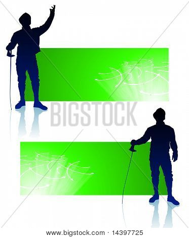 Fencer on Abstract Banners Original Illustration