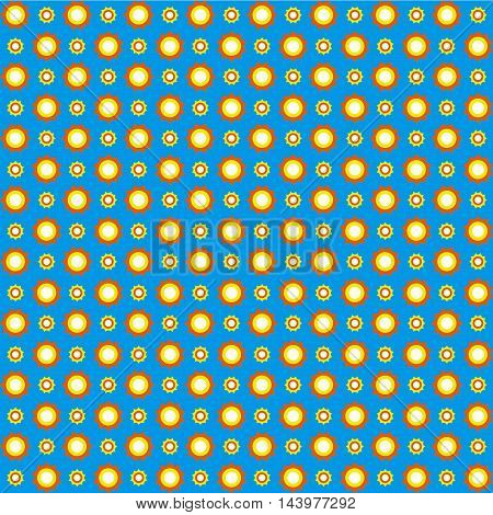 Sunny sky seamless pattern. White blue orange and yellow colors. Seamless texture vector illustration. Bright background.