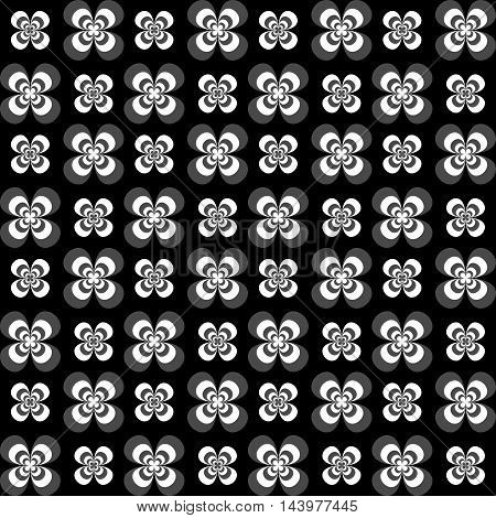 Flowers seamless pattern. White grey and black colors. Seamless texture vector illustration. Dark background.