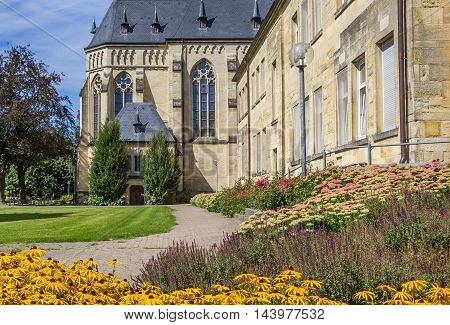 Flowers In Front Of The Stift Tilbeck In Havixbeck