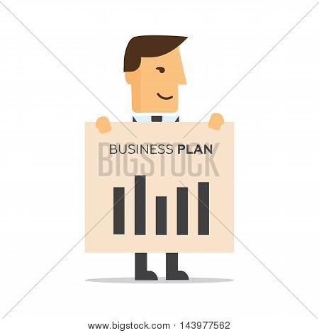 Businessman illustration of business plan eps 10