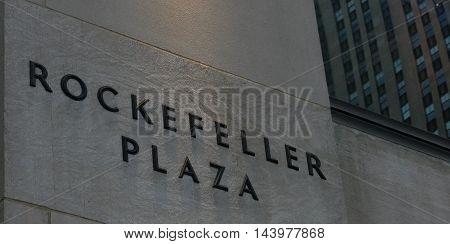 New York USA. 23rd August 2016. Rockefeller plaza sign