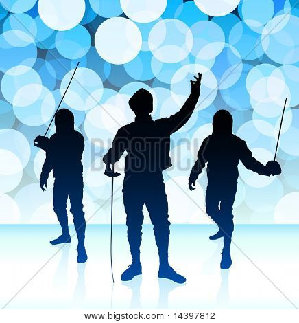 Fencer on Blue Lens Flare Background Original Illustration