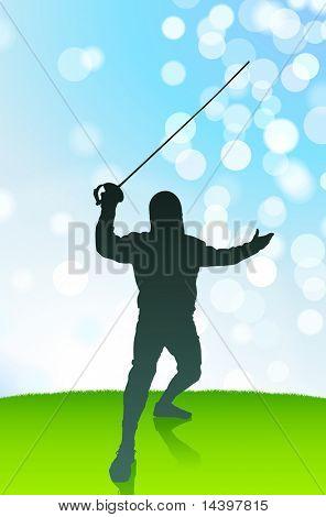 Fencer on Lens Flare Summer Background Original Illustration