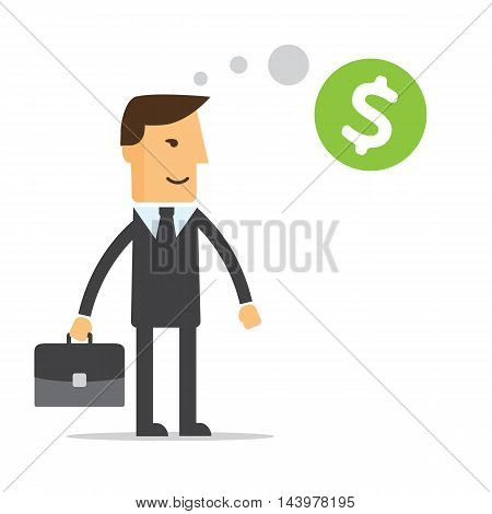 Businessman thinking about money vector eps 10