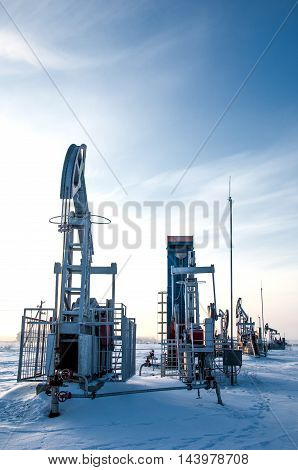 Rocking oil Frosty Morning. , power, pipeline, drilling