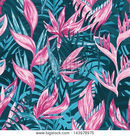 Hand draw tropical flowers and leaves seamless pattern. Vector illustration.
