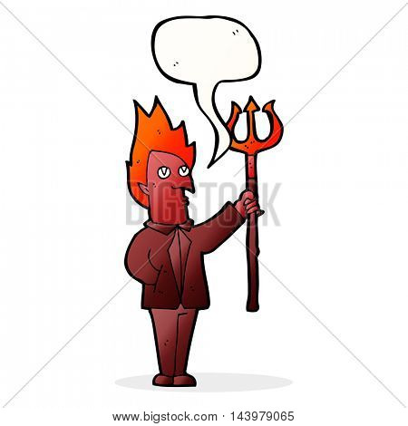 cartoon devil with pitchfork with speech bubble