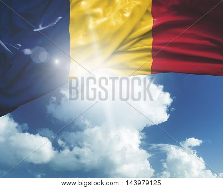 Chad flag on a beautiful day