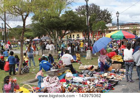 Cajamarca Peru - February 7 2016: Crowd of people in Plaza de Armas during Carnival parade in Cajamarca Peru on February 7 2016