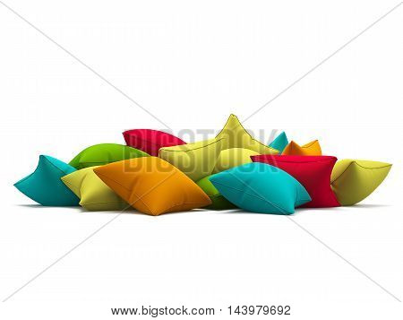 Many color cushions isolated on white background. 3d render