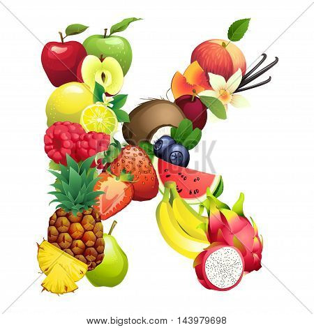 Vector Illustration Letter K composed of different fruits with leaves