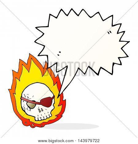 cartoon burning skull with speech bubble