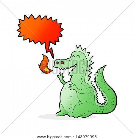 cartoon fire breathing dragon with speech bubble