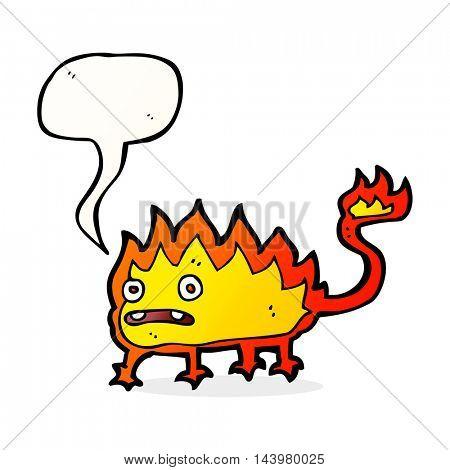 cartoon little fire demon with speech bubble