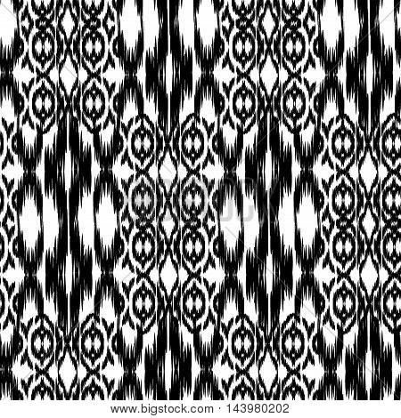 Seamless Ikat Pattern. Abstract black and white background for textile design wallpaper surface textures