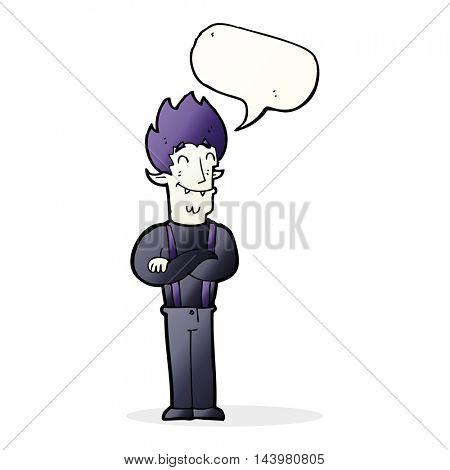 cartoon happy vampire man with speech bubble