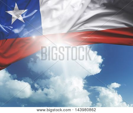 Chile flag on a beautiful day