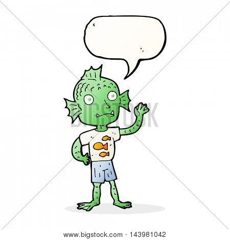 cartoon waving fish boy with speech bubble