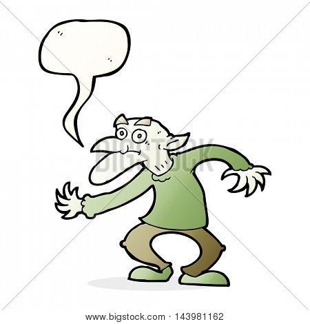 cartoon goblin with speech bubble