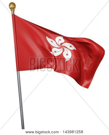National flag for country of Hong Kong isolated on white background, 3D rendering