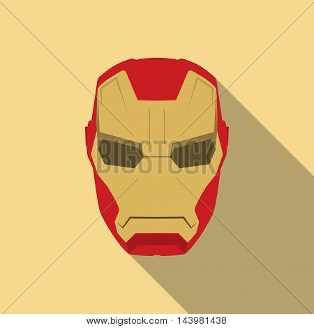 Mask of super hero face character in flat design template. Golden and red