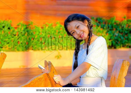 portrait of smile of young cute girl.