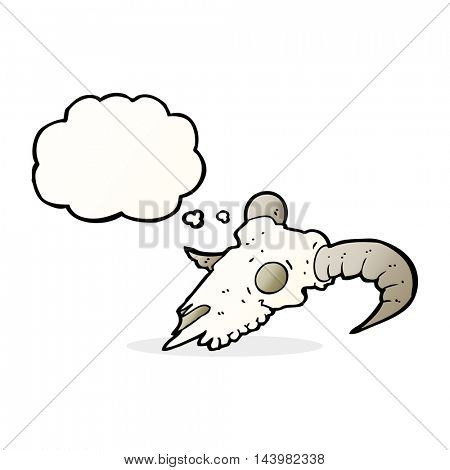cartoon ram skull with thought bubble