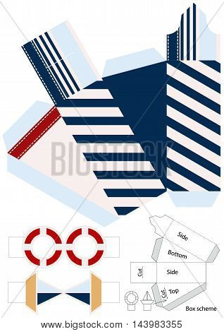 Box template. Gift package. Nautical style Vector illustration