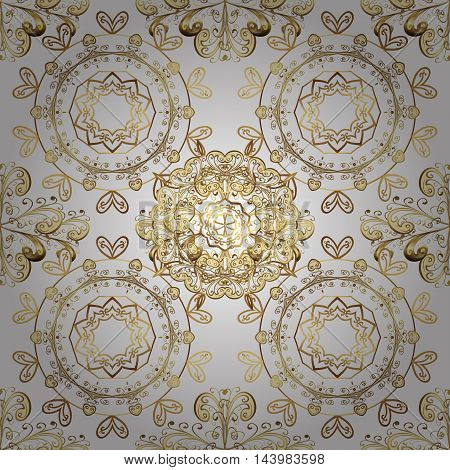 Seamless vintage pattern on white background with golden elements.