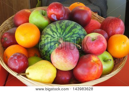variety of fruits in a basket  multicolor