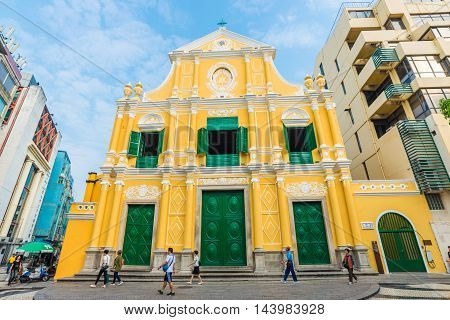 MACAU MACAU - OCT 22 2015 - St. Dominic's Yellow Church.The construction of the church was finished in 1587. The church is the oldest in Macau.