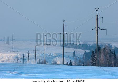 Power poles in the wintery, sky, steel, energies,