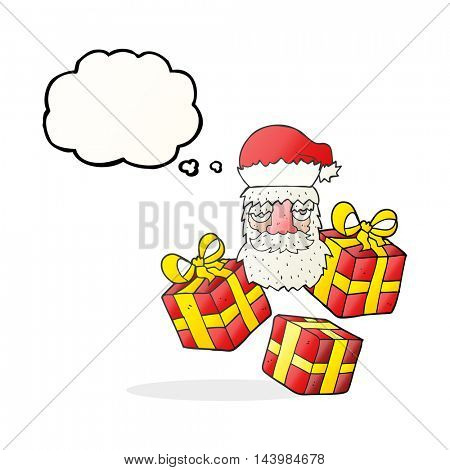 freehand drawn thought bubble cartoon tired santa claus face with presents