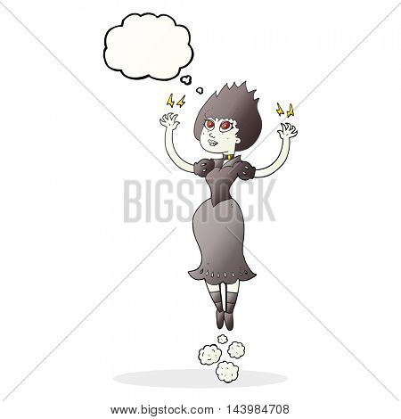 freehand drawn thought bubble cartoon vampire girl flying