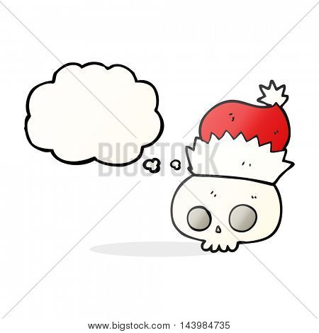 freehand drawn thought bubble cartoon skull wearing christmas hat