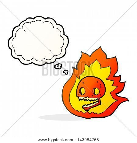 freehand drawn thought bubble cartoon burning skull