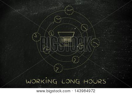 Laptop Surrounded By Clock, Working Overtime