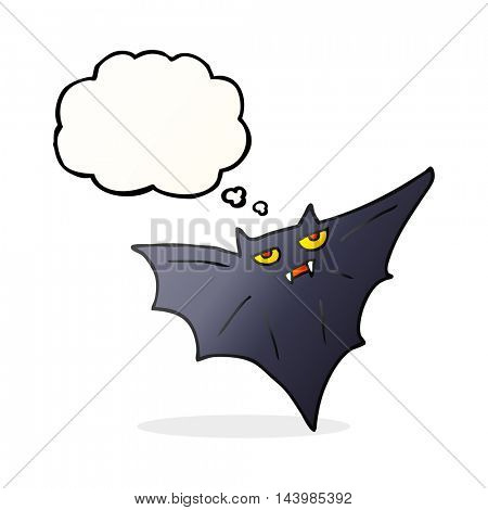 freehand drawn thought bubble cartoon halloween bat
