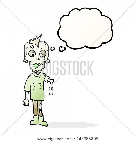 freehand drawn thought bubble cartoon zombie
